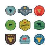 Sistema de etiquetas frescas superiores de la carne de vaca Ilustración del vector libre illustration