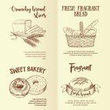Sistema de etiquetas gráficas dibujadas mano del pan Fotografía de archivo