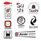 Sistema de etiquetas japonés de la comida con diverso sushi stock de ilustración