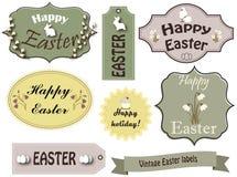 Sistema de etiquetas lindo de Pascua del vintage stock de ilustración