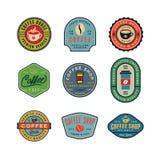 Sistema de etiquetas modernas de la cafetería del vintage Ilustración del vector Imagenes de archivo