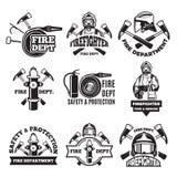 Sistema de etiquetas monocromático para el cuerpo de bomberos cuadros stock de ilustración