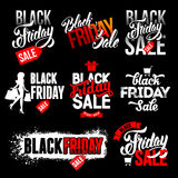 Sistema de etiquetas negro de la venta de viernes libre illustration