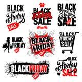 Sistema de etiquetas negro de la venta de viernes ilustración del vector