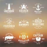 Sistema de etiquetas o de muestras náuticas del vintage con retro Fotografía de archivo