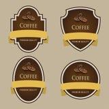 Sistema de etiquetas oscuras Tema del café Fotografía de archivo libre de regalías