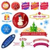 Sistema de etiquetas planas del vintage de la Navidad Fotos de archivo libres de regalías