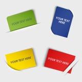 Sistema de etiquetas rectangulares coloridas en su bolsillo Imágenes de archivo libres de regalías