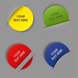 Sistema de etiquetas redondas coloridas en su bolsillo Fotos de archivo libres de regalías