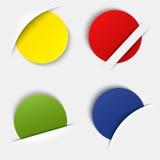 Sistema de etiquetas redondas en blanco coloridas en su bolsillo Fotos de archivo libres de regalías