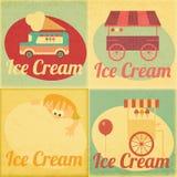 Sistema de etiquetas retras del helado Imagen de archivo libre de regalías
