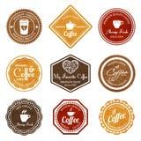 Sistema de etiquetas retro del café Fotos de archivo libres de regalías