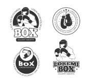 Sistema de etiquetas retro del vector del boxeo ilustración del vector