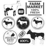 Sistema de etiquetas superiores de la carne de vaca Imagenes de archivo