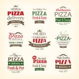 Sistema de etiquetas superiores de la pizza de la calidad Foto de archivo libre de regalías