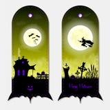 Sistema de etiquetas vertical de las banderas de la fantasía amarilla espeluznante de Halloween Ilustración del vector Fotografía de archivo