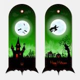 Sistema de etiquetas vertical verde espeluznante de las banderas de Halloween Ilustración del vector Fotos de archivo libres de regalías