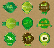Sistema de etiquetas y de elementos orgánicos frescos stock de ilustración