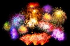 sistema de exhibición hermoso del fuego artificial por la Feliz Año Nuevo de la celebración Fotografía de archivo libre de regalías