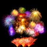 sistema de exhibición hermoso del fuego artificial por la Feliz Año Nuevo de la celebración Fotografía de archivo