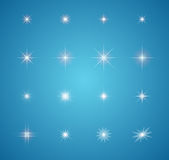 Sistema de explosiones de las estrellas del efecto luminoso que brillan intensamente ilustración del vector