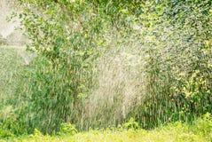 Sistema de extinção de incêndios automático do gramado do jardim na grama molhando da ação imagem de stock royalty free