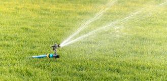 Sistema de extinção de incêndios de oscilação da irrigação do gramado no close-up do meio-dia Foto de Stock