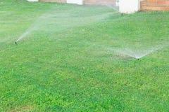 Sistema de extin??o de inc?ndios no jardim que molha o gramado Conceito molhando autom?tico dos gramados fotos de stock