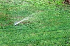 Sistema de extin??o de inc?ndios no jardim que molha o gramado Conceito molhando autom?tico dos gramados foto de stock