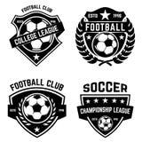 Sistema de fútbol, emblemas del fútbol Diseñe el elemento para el logotipo, etiqueta, emblema, muestra ilustración del vector