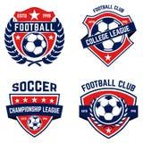 Sistema de fútbol, emblemas del fútbol Diseñe el elemento para el logotipo, etiqueta, emblema, muestra stock de ilustración