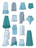 Sistema de faldas con asimetría y los dobleces ilustración del vector