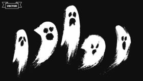 Sistema de fantasmas dibujados mano horrible foto de archivo libre de regalías