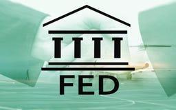 Sistema de Federal Reserve - FED Concepto de la econom?a de las actividades bancarias Fondo de la exposici?n doble fotografía de archivo
