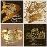 Sistema de Feliz Navidad de las plantillas y una Feliz Año Nuevo con un ciervo, con las campanas de la Navidad Gallo 2017 del sím stock de ilustración