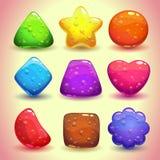 Sistema de figuras brillantes de la jalea con las burbujas libre illustration
