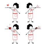 Sistema de 4 figuras camareros 4 camarero - 4 clases de comida Figura camarero en el estilo de los tebeos satíricos Foto de archivo