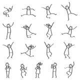 Sistema de figuras del palillo, gente del palillo que salta, hombres felices y mujeres que sonríen y que ríen ilustración del vector