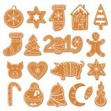 Sistema de figuras de las galletas del pan de jengibre de la Navidad stock de ilustración