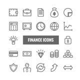 Sistema de finanzas y de iconos lineares del dinero Iconos finos del vector para los apps móviles, web, diseño de la impresión Fotografía de archivo libre de regalías