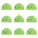 Sistema de finos verdes lindos Caracteres del juego Diversas expresiones faciales Imágenes de archivo libres de regalías