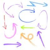 Sistema de flechas coloreadas acuarela del VECTOR Imagen de archivo