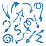 Sistema de flechas de la acuarela Imagen de archivo libre de regalías