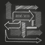 Sistema de flechas del dibujo de tiza Imágenes de archivo libres de regalías