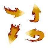 Sistema de flechas del fuego Iconos Foto de archivo libre de regalías