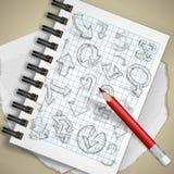 Sistema de flechas dibujadas mano del garabato. Fotografía de archivo libre de regalías