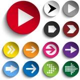 Sistema de flechas en los botones coloridos Fotos de archivo