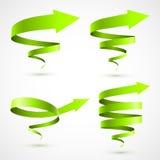 Sistema de flechas espirales verdes Ilustración del Vector
