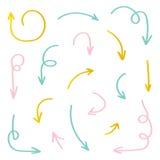 Sistema de flechas a mano coloridas aisladas en el fondo blanco Imagen de archivo libre de regalías