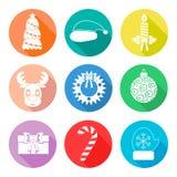 Sistema de flet de los iconos de la Navidad Color blanco Vector Imágenes de archivo libres de regalías